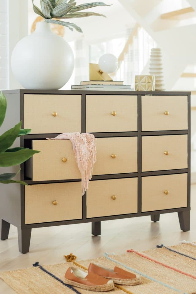 photo of grasscloth wallpaper drawers