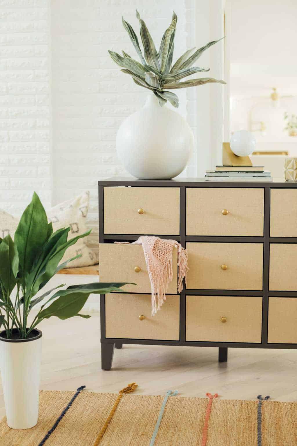 styled rattan DIY ikea hack drawers