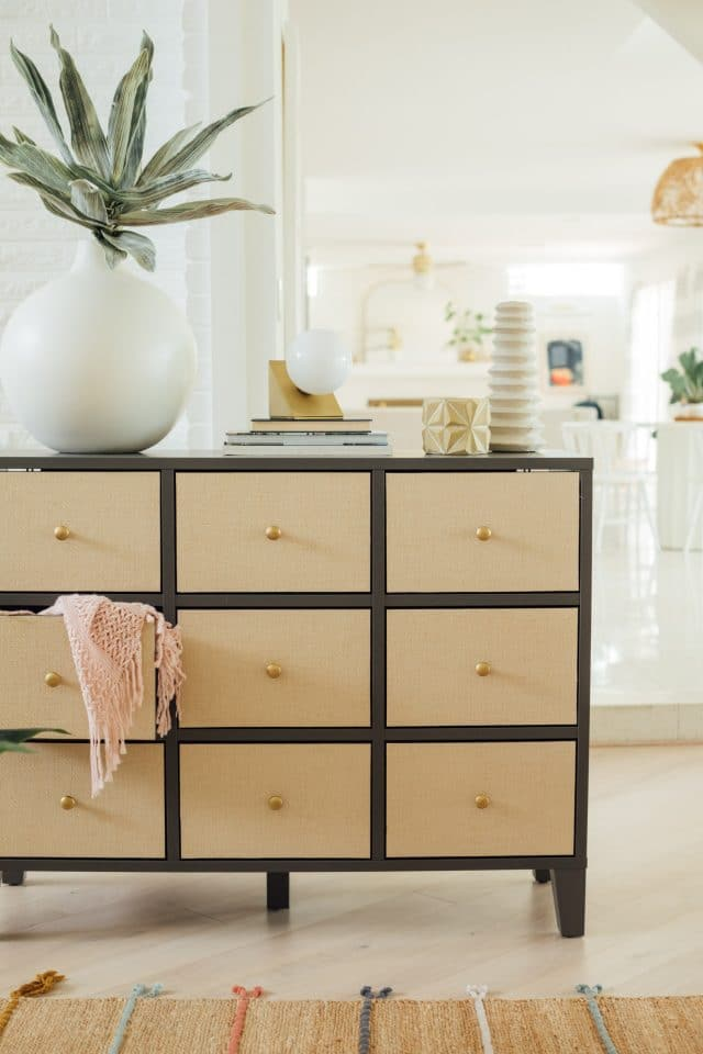 grasscloth drawer fronts