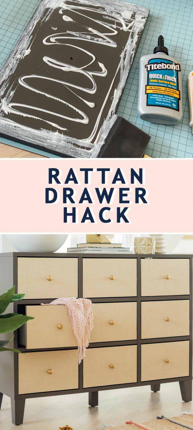 photo of titebond glue and a finished diy rattan drawer dresser