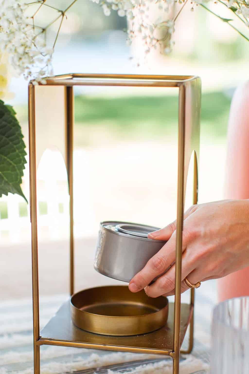 placing a gel can inside a brass lantern