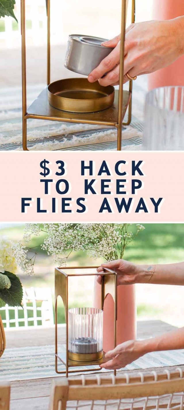 two photos combined together of an outdoor dining table to show how to keep flies away