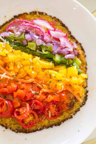 rainbow veggie pizza toppings on gluten free pizza crust