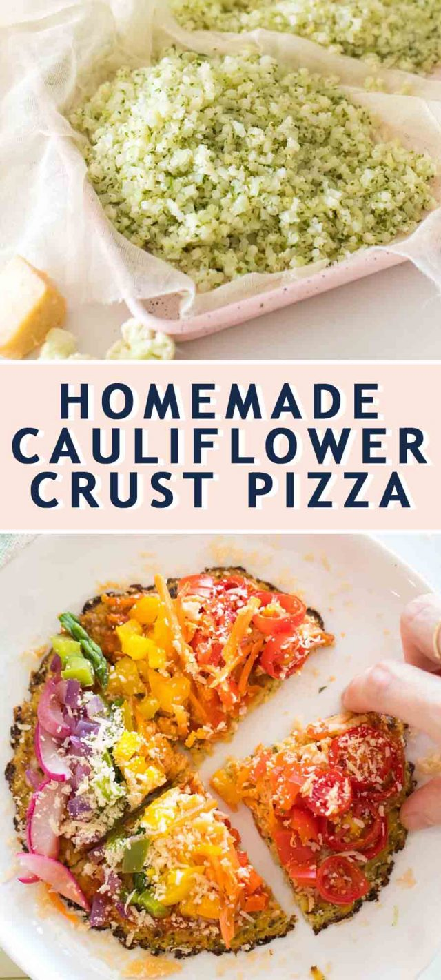 two photos compiled together of how to make cauliflower pizza dough and rainbow pizza toppings
