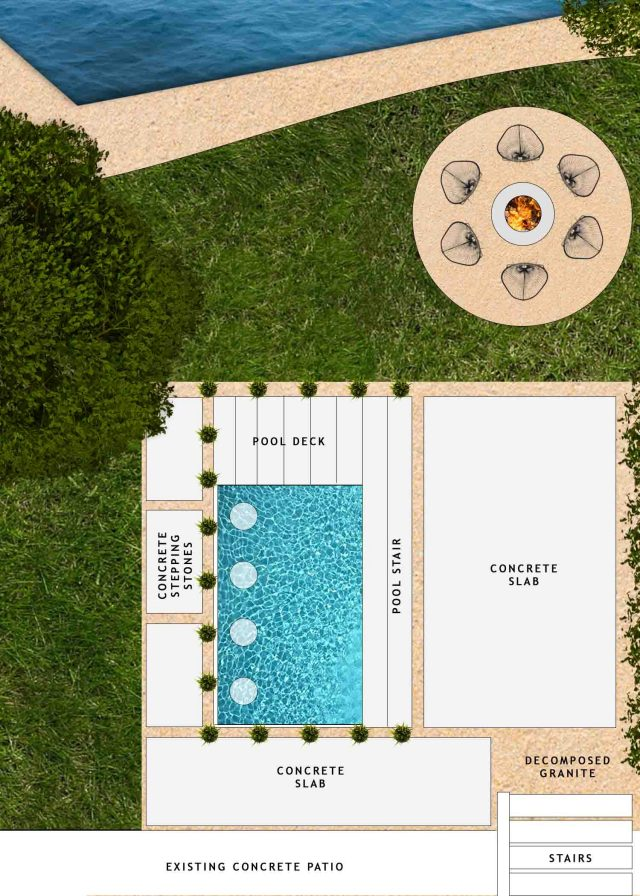 backyard landscaping design mockup