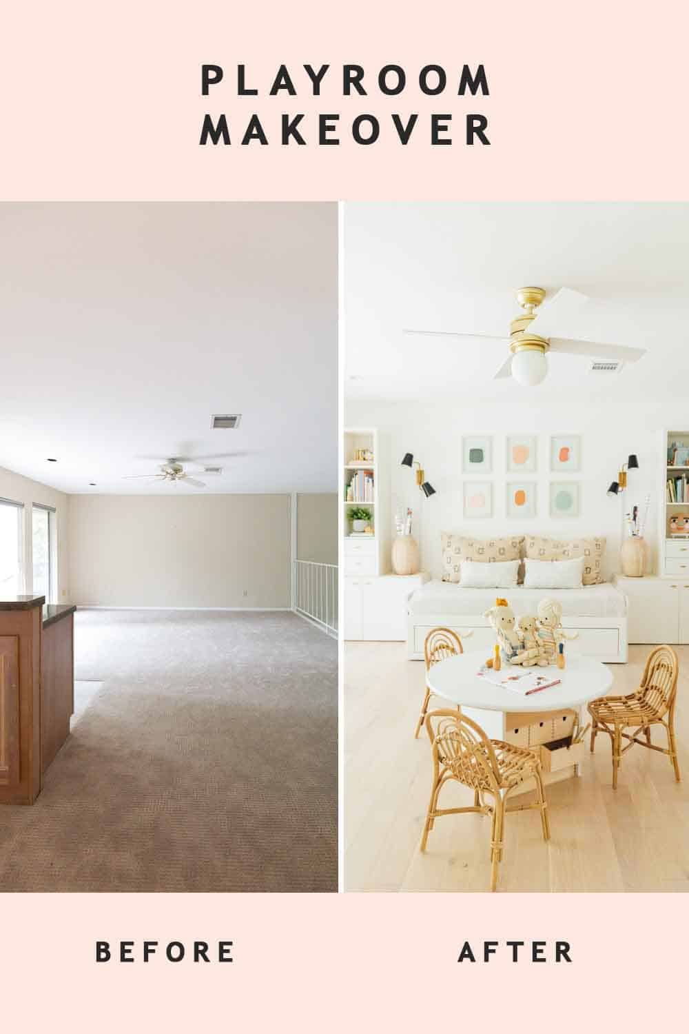 side by side photo of a before and after playroom