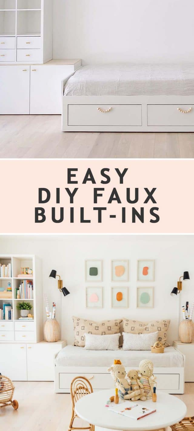 a before and after of easy DIY faux built in storage