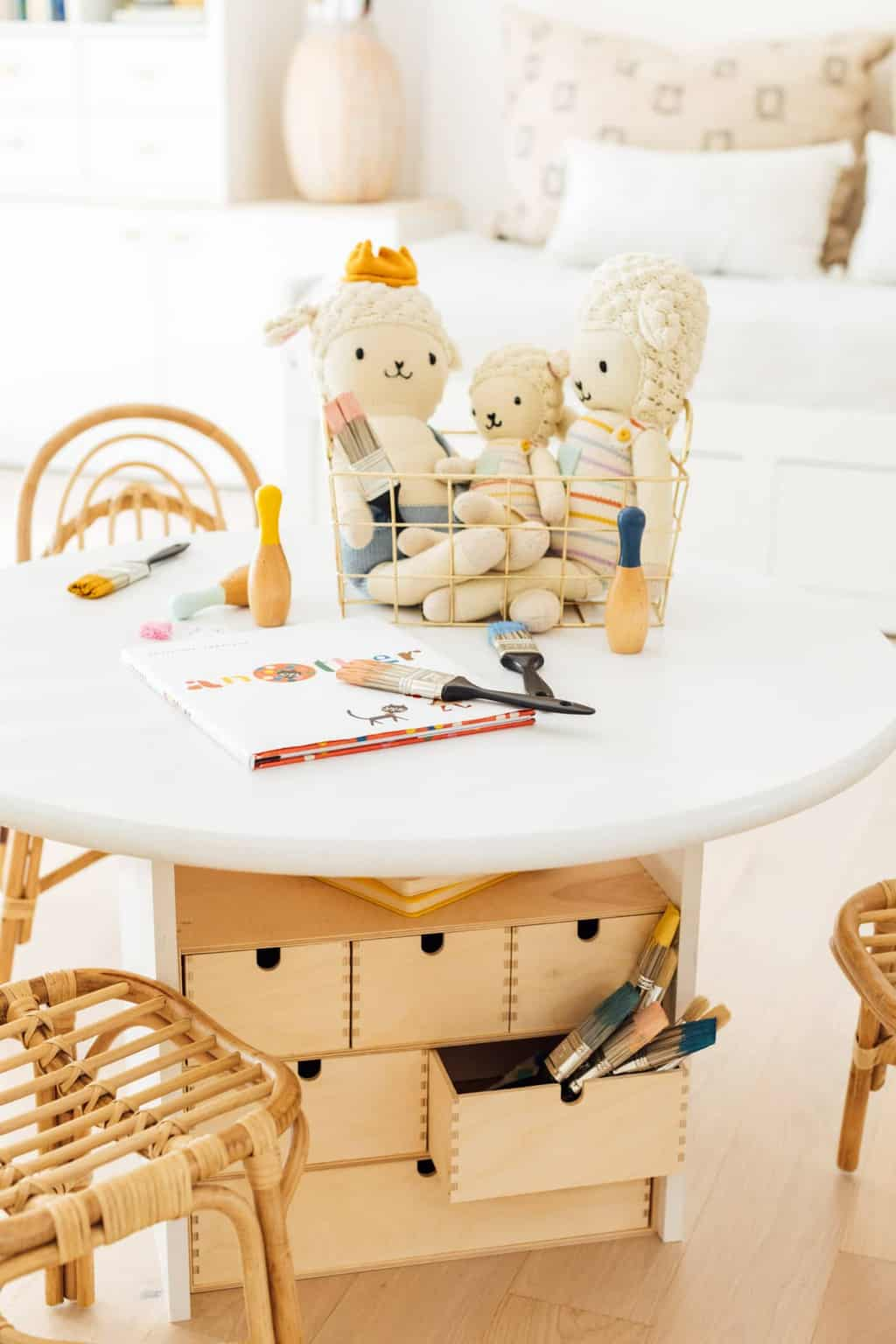 diy kids storage table with toys