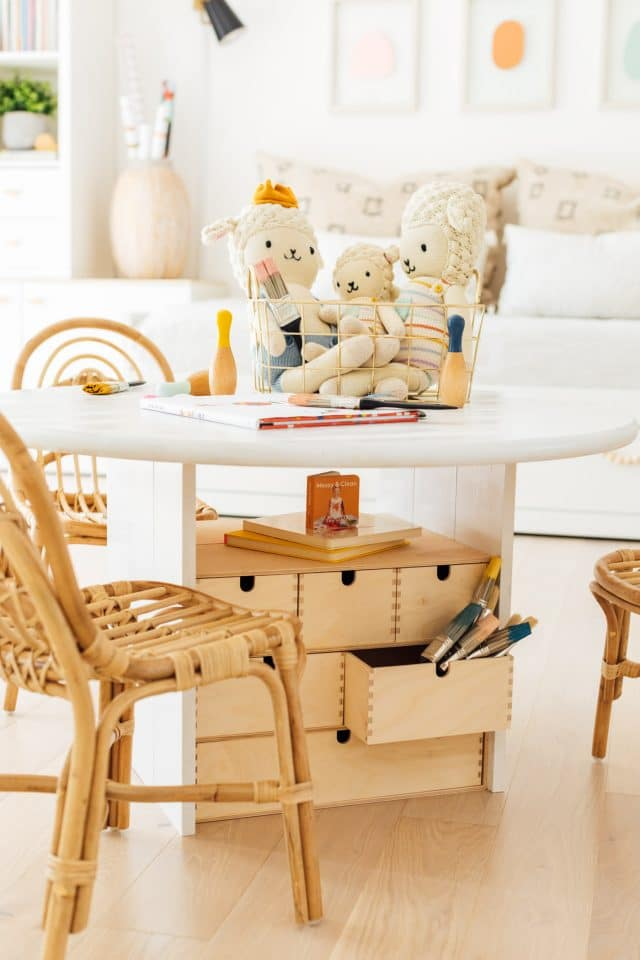 photo of all the extra additional storage you can add to your kid's activity table by top Houston lifestyle blogger Ashley Rose of Sugar & Cloth