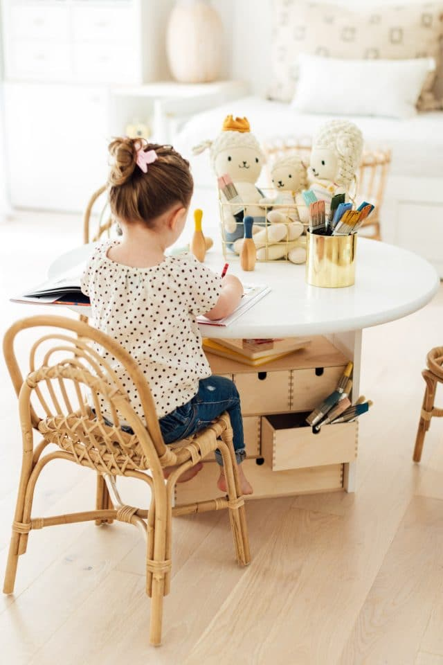 photo of a DIY Kids Activity Table by top Houston lifestyle blogger Ashley Rose of Sugar & Cloth