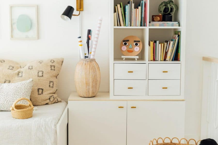 easy faux built in storage from IKEA