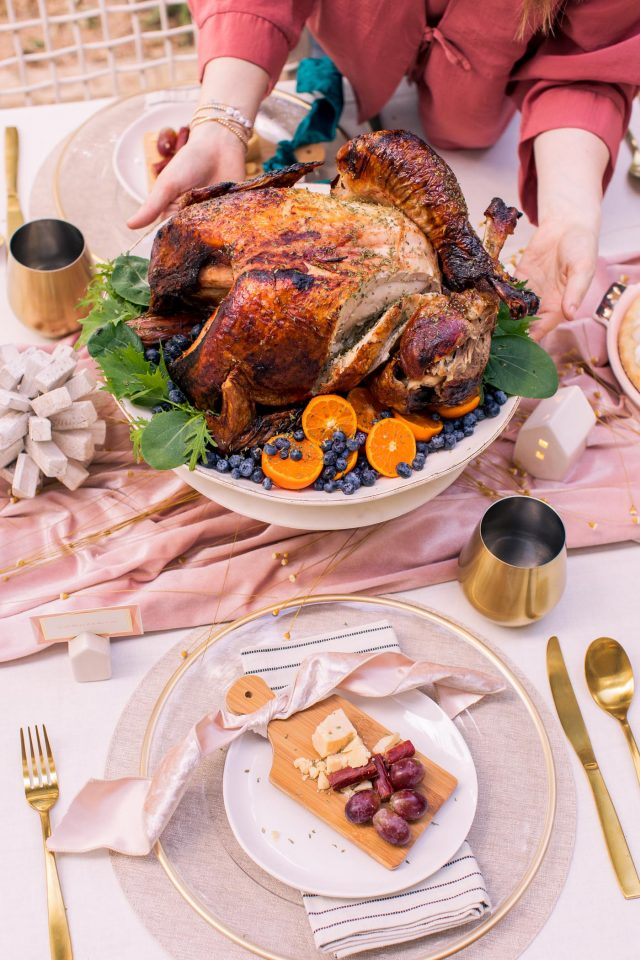 photo of a closeup of our Thanksgiving air fryer turkey and appetizers by top Houston lifestyle blogger Ashley Rose of Sugar & Cloth