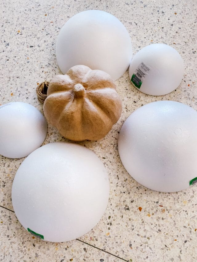 foam balls and kraft paper pumpkin for crafting