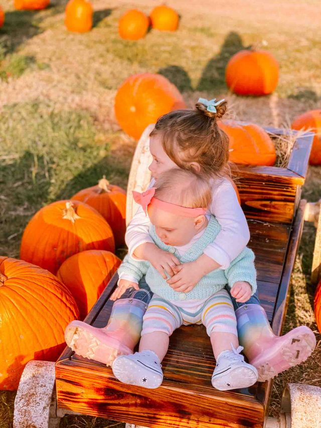luca and gwen hugging at the pumpkin patch