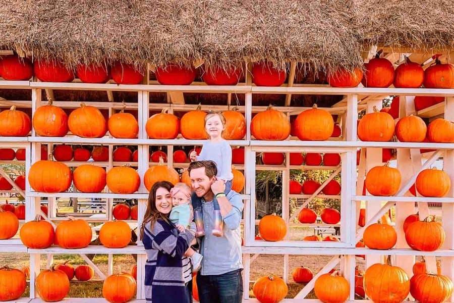 family pumpkin patch photo