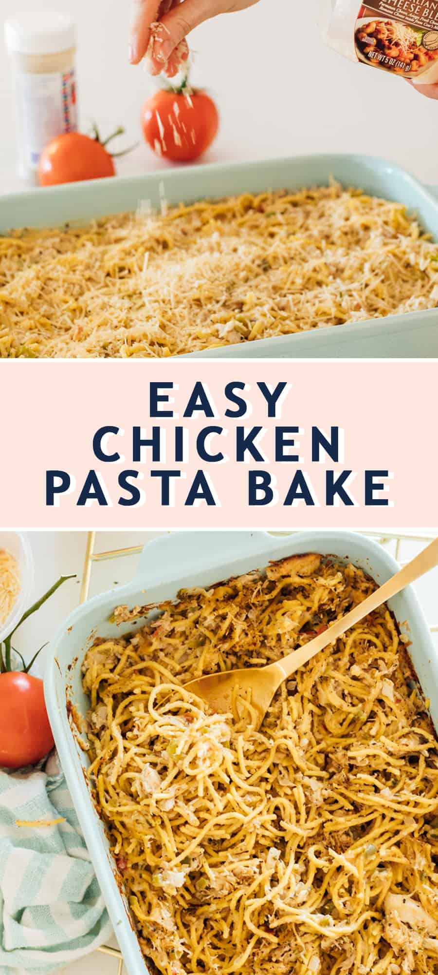 photo of the recipe card on how to make easy chicken pasta bake by top Houston lifestyle blogger Ashley Rose of Sugar & Cloth