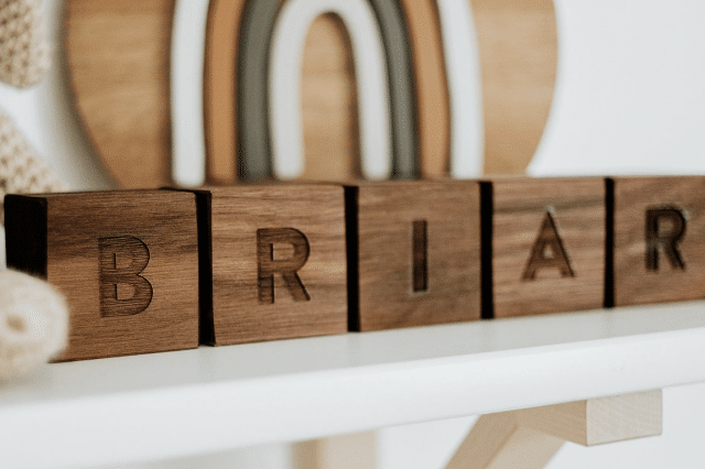 custom wooden baby blocks with a name on them
