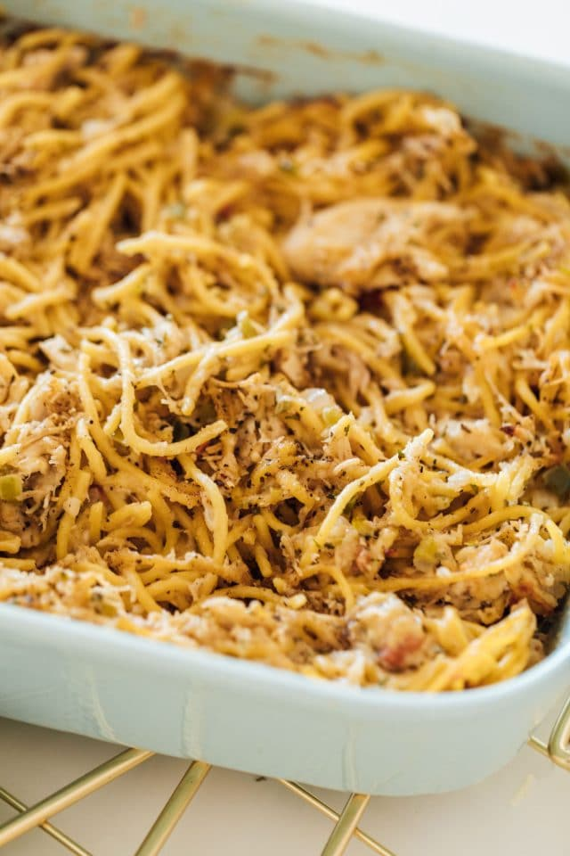 photo of easy baked chicken spaghetti by top Houston lifestyle blogger Ashley Rose of Sugar & Cloth