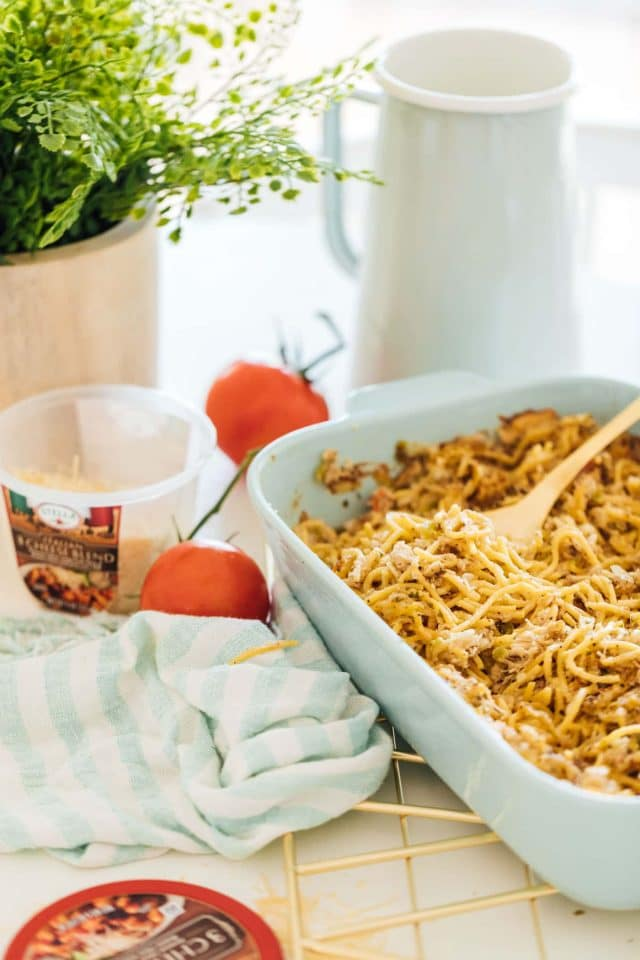 photo of an easy chicken pasta bake recipe by top Houston lifestyle blogger Ashley Rose of Sugar & Cloth