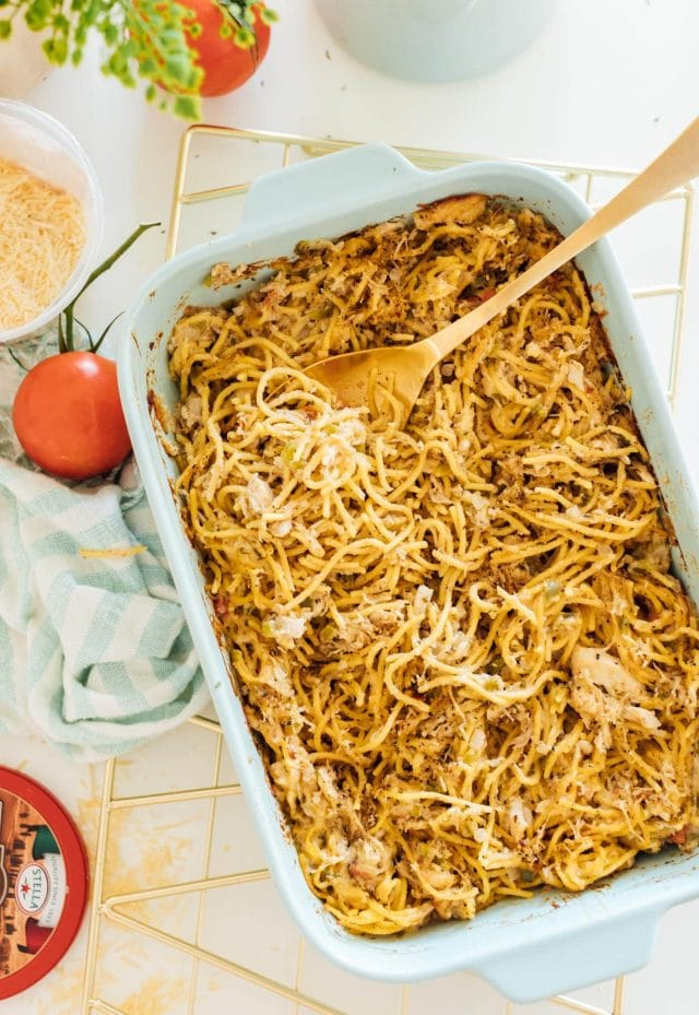 photo of a healthy chicken pasta bake with veggie noodles by top Houston lifestyle blogger Ashley Rose of Sugar & Cloth