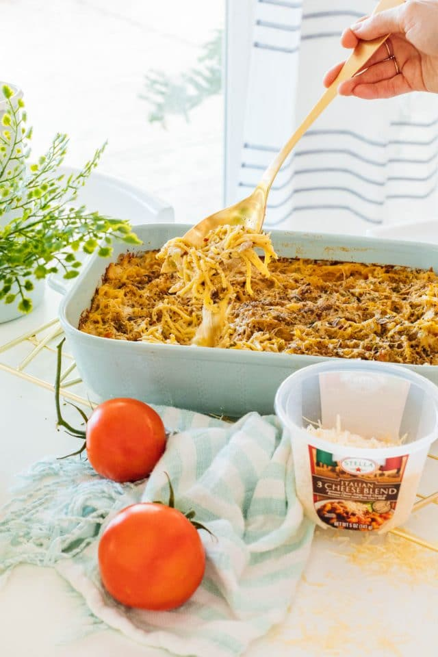 photo of the chicken pasta bake being ready to serve by top Houston lifestyle blogger Ashley Rose of Sugar & Cloth