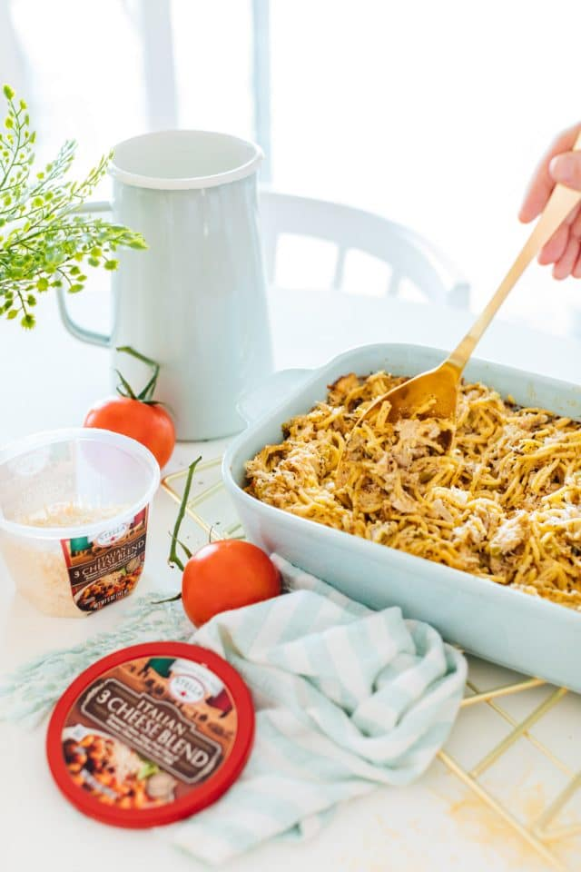 photo of an easy dinner idea, chicken pasta bake by top Houston lifestyle blogger Ashley Rose of Sugar & Cloth
