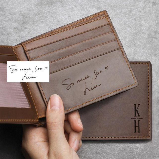 photo of a Handwriting Leather Wallet as customized gifts for him