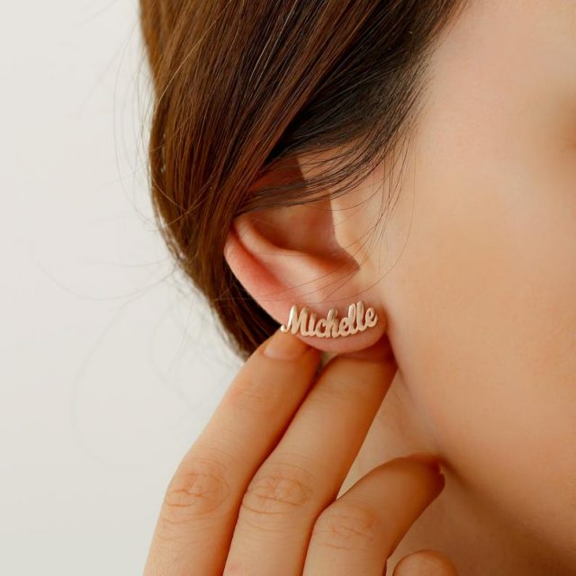 photo of the Personalized Name Earrings