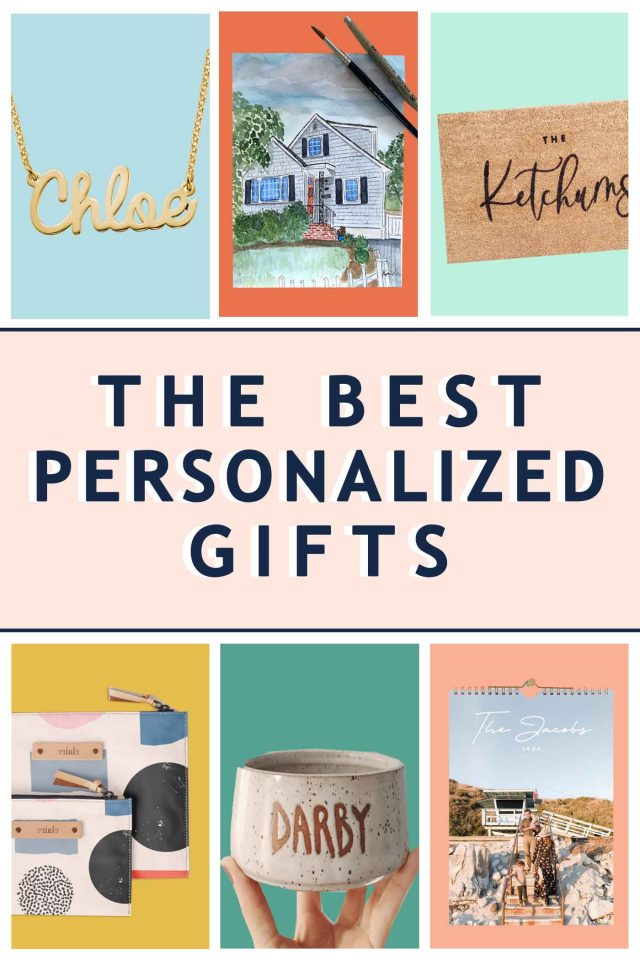 a graphic that shows 6 different personalized and customized gift ideas