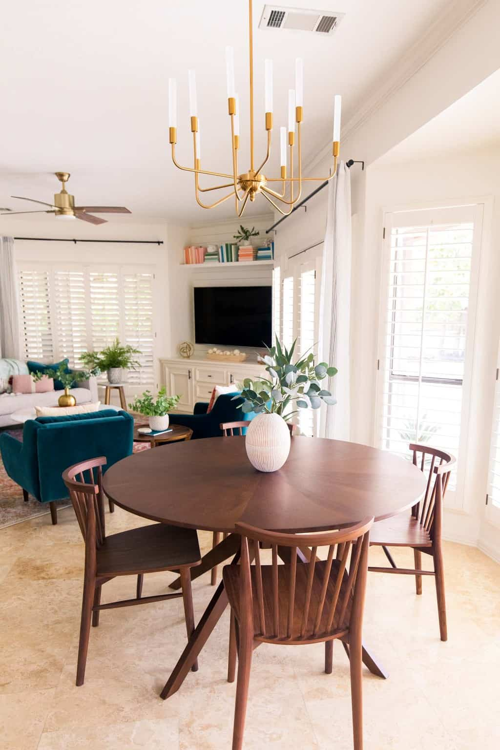 dining room article table and living room view