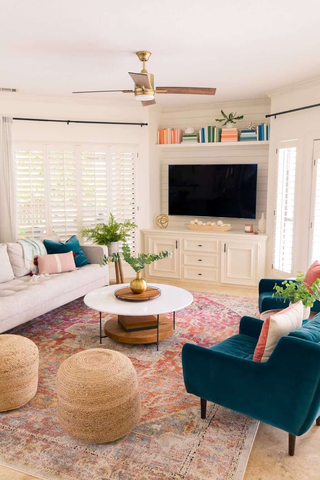 photo of a family room with tv and coffe table