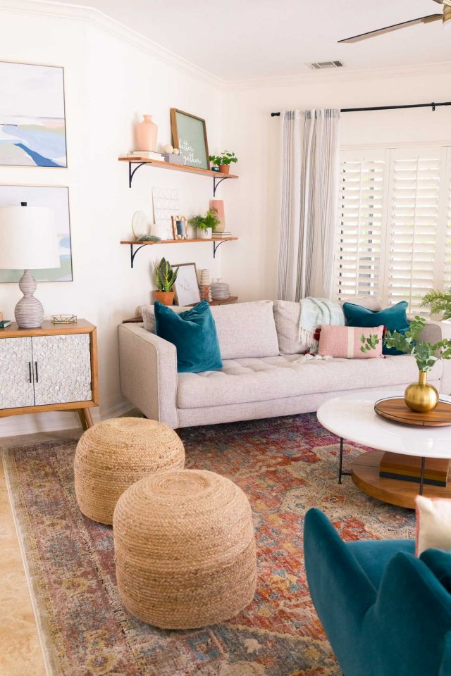 an angled photo of a family room makeover