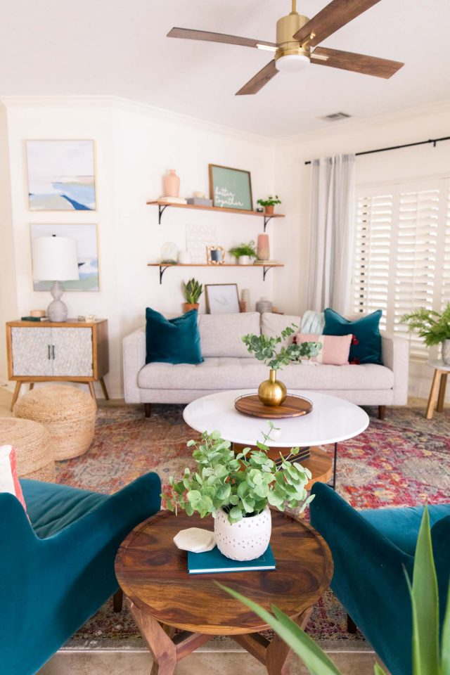 photo of an article sofa and two chairs