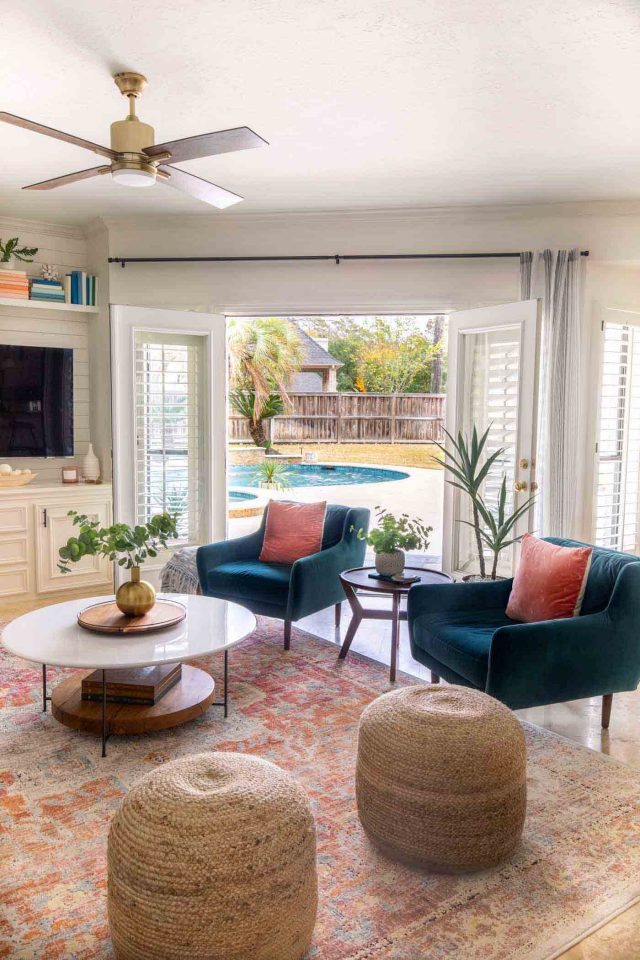 angled photo of a family room makeover
