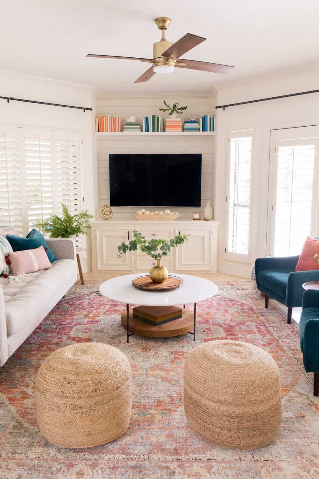 front view of the tv and living room makeover