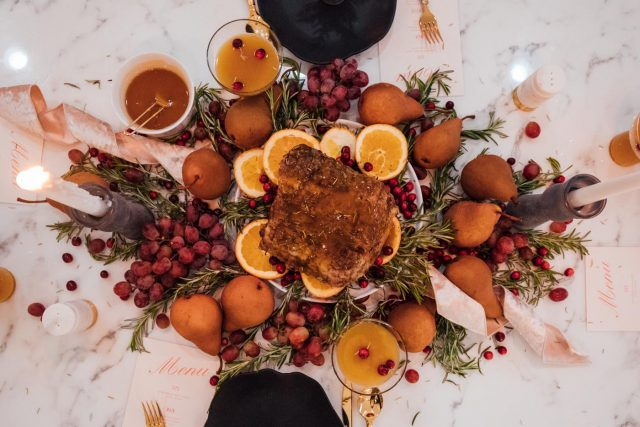 overhead shot of a fall tablescape idea by top Houston lifestyle blogger Ashley Rose of Sugar & Cloth