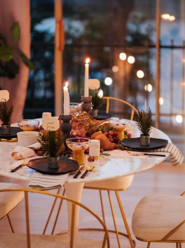 photo of a festive fall dinner setting by top Houston lifestyle blogger Ashley Rose of Sugar & Cloth