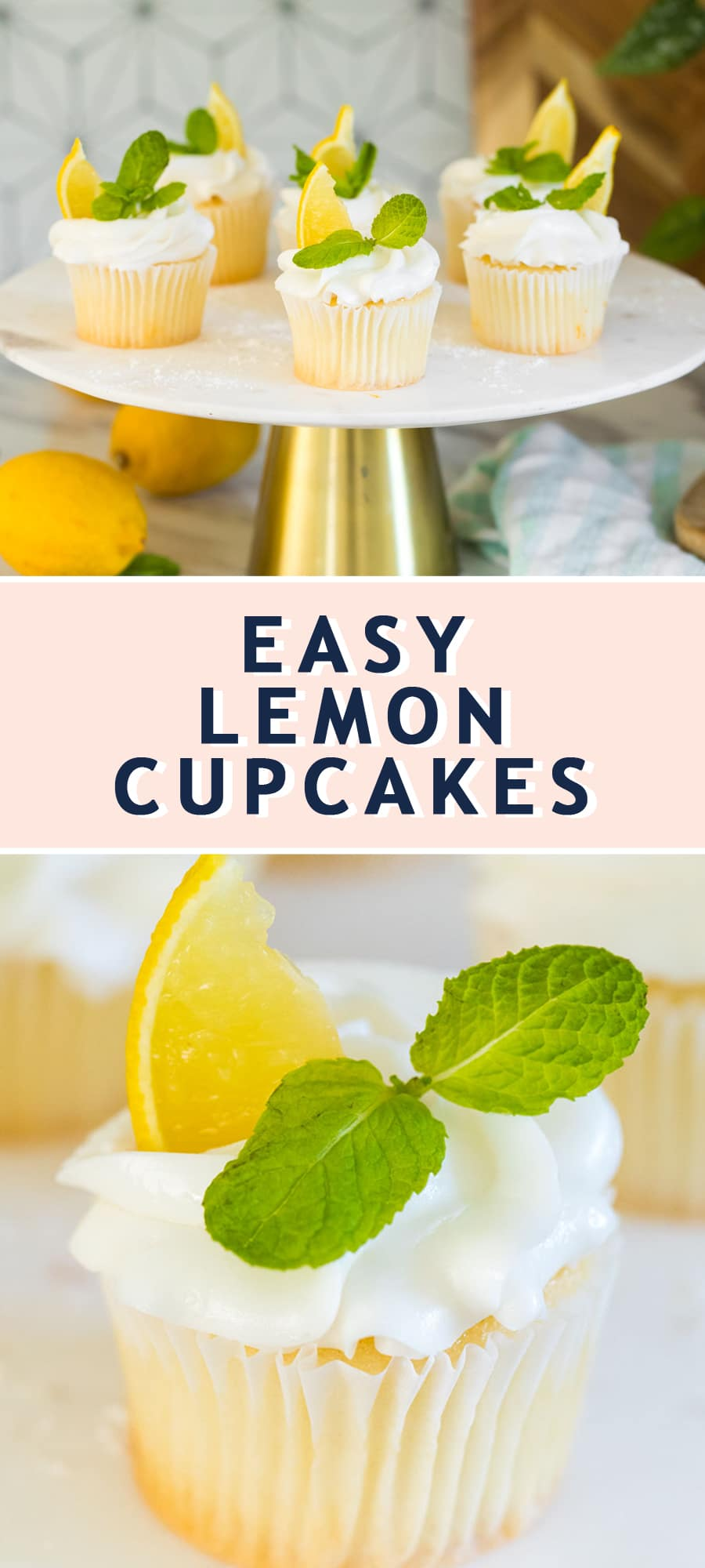photo of the lemon cupcakes recipe card by top Houston lifestyle blogger Ashley Rose of Sugar & Cloth