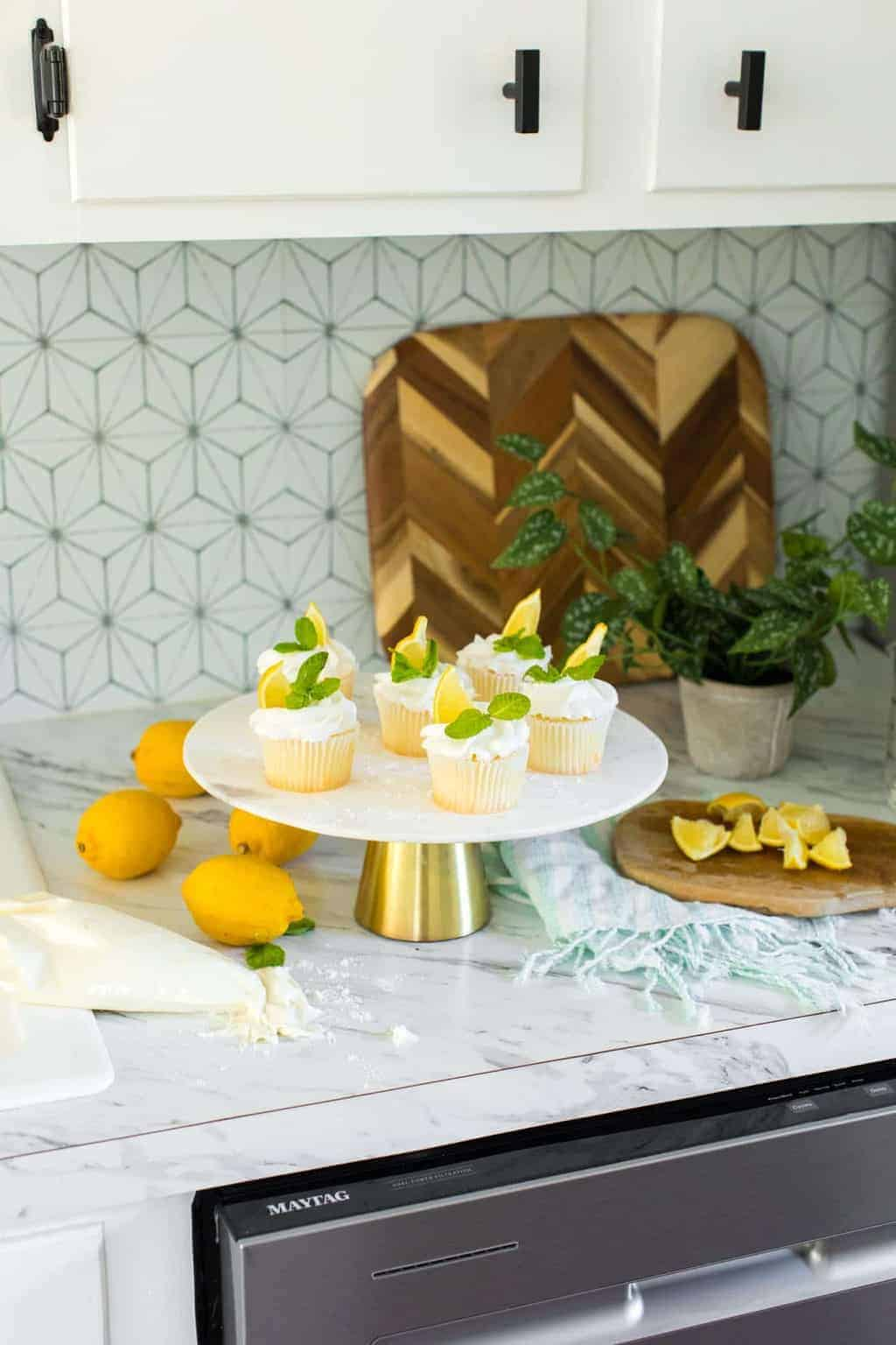 photo of an easy lemon cupcakes recipe by top Houston lifestyle blogger Ashley Rose of Sugar & Cloth