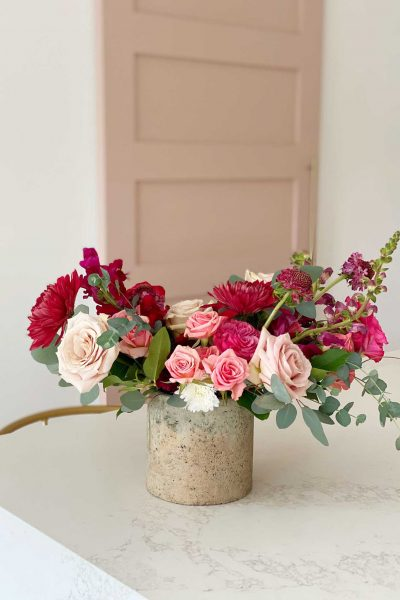pink floral arrangement on a table