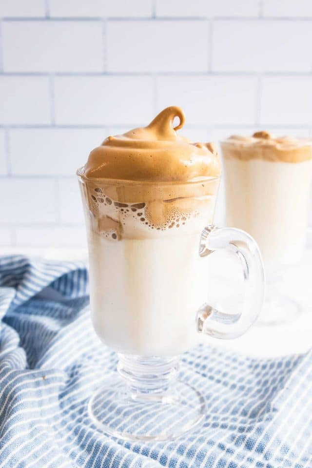 photo of whipped coffee served hot by top Houston lifestyle blogger Ashley Rose of Sugar & Cloth