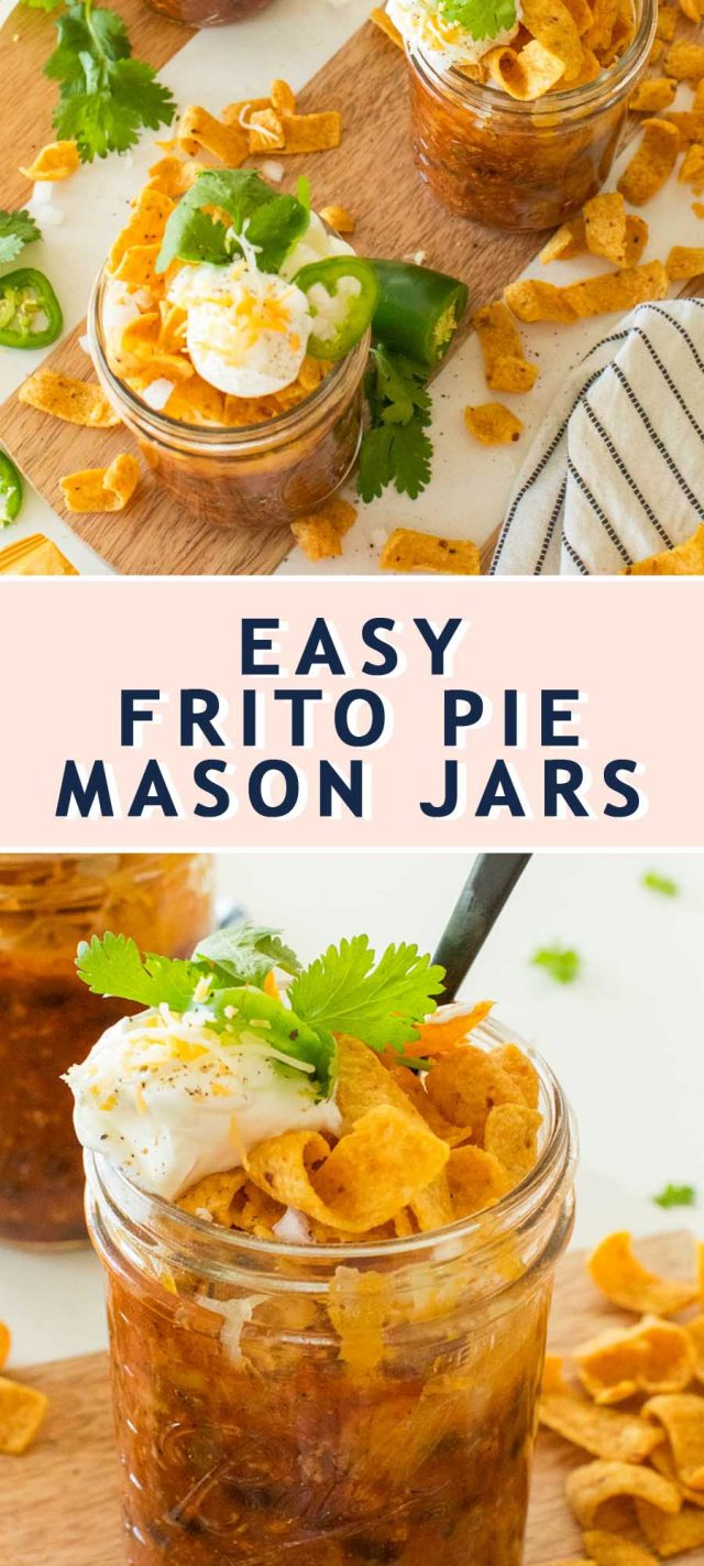 photo of the recipe card on how to make easy frito pie mason jars by top Houston lifestyle blogger Ashley Rose of Sugar & Cloth