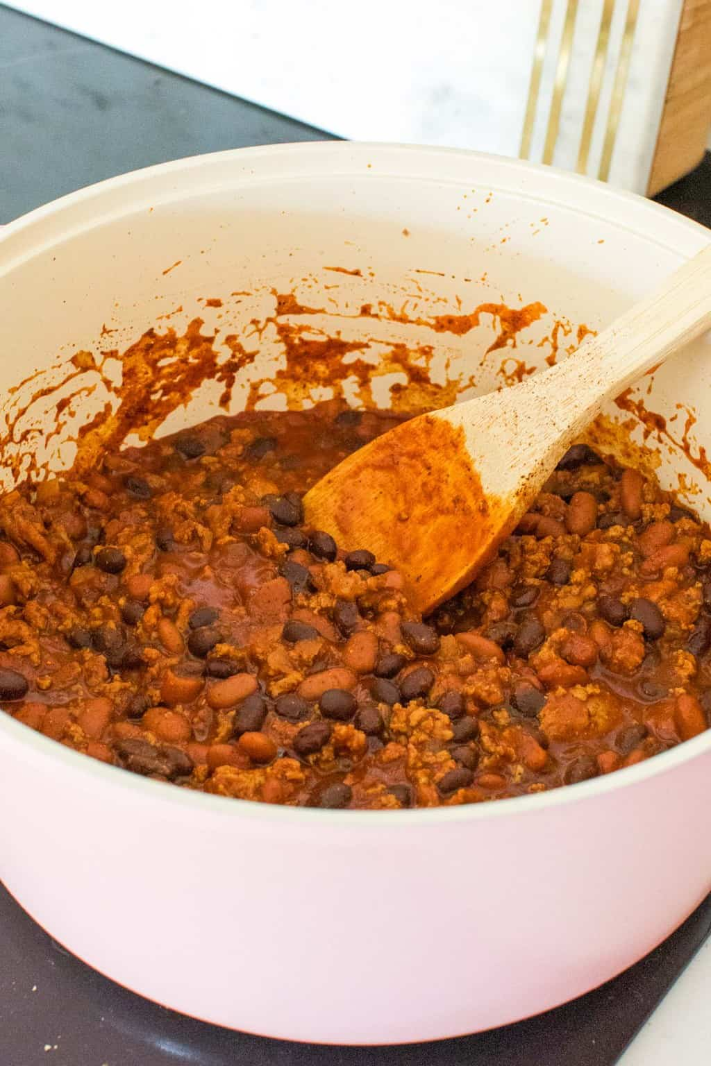 photo of how to make the chili for frito pie mason jason by top Houston lifestyle blogger Ashley Rose of Sugar & Cloth