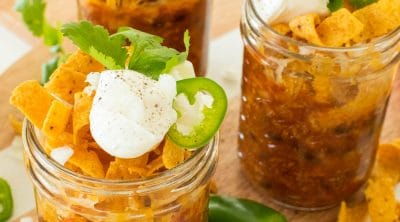 photo of frito pie mason jars by top Houston lifestyle blogger Ashley Rose of Sugar & Cloth