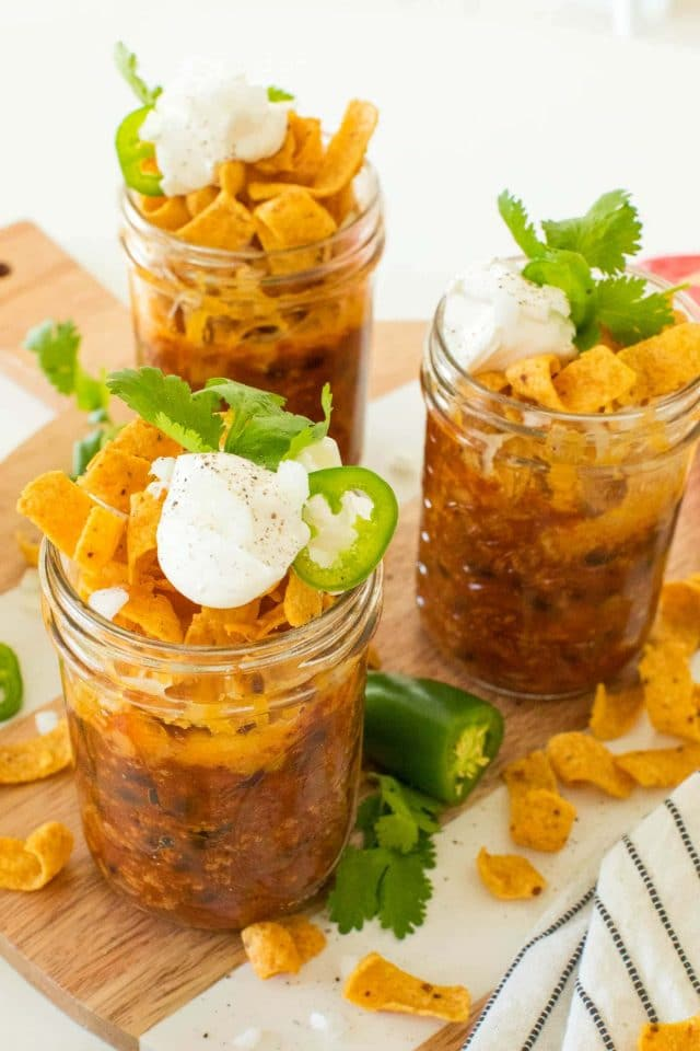 photo of frito pie mason jars by top Houston lifestyle blogger Ashley Rose of Sugar & Cloth