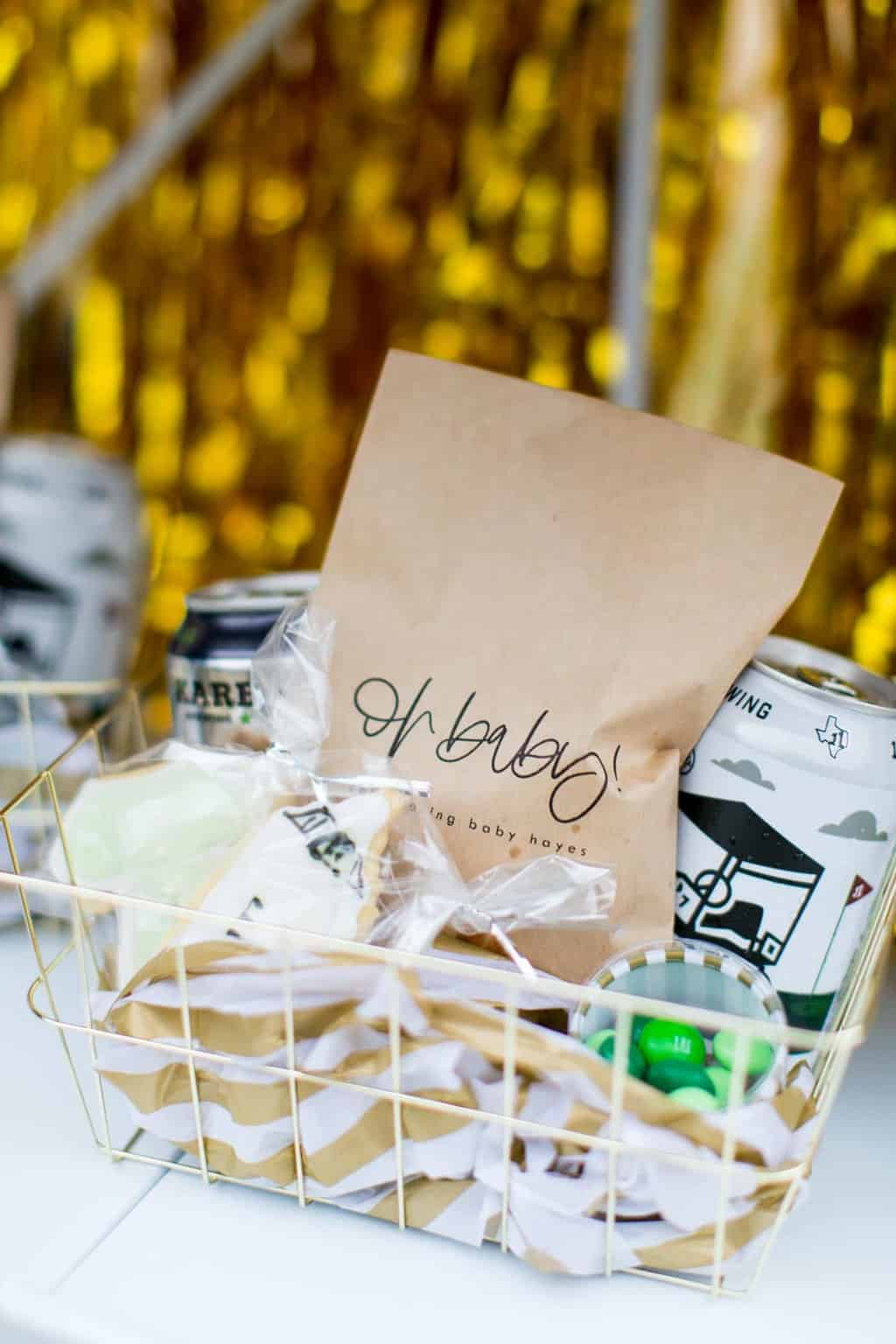 gold gift basket with drive thru baby shower favors