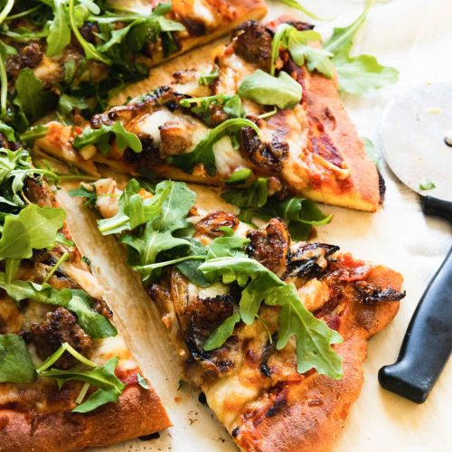photo of a low carb healthy keto pizza by top Houston lifestyle blogger Ashley Rose of Sugar & Cloth