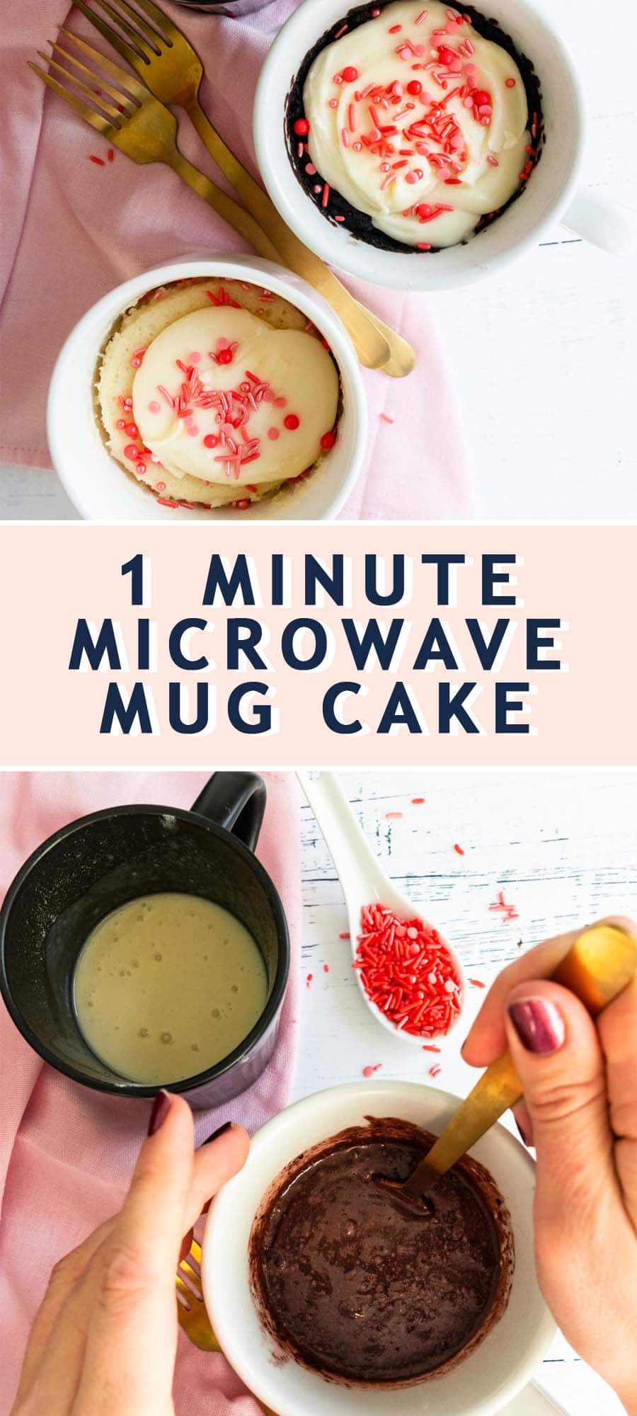photo recipe card on how to make the perfect with mug cake by top Houston lifestyle blogger Ashley Rose of Sugar & Cloth
