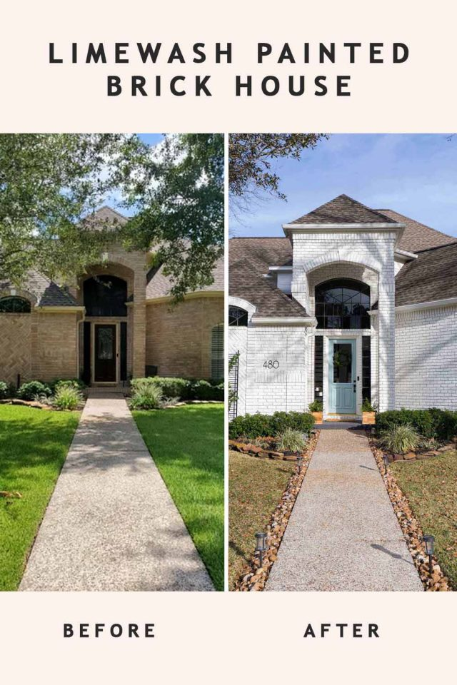 before and after of a white limewash painted brick house