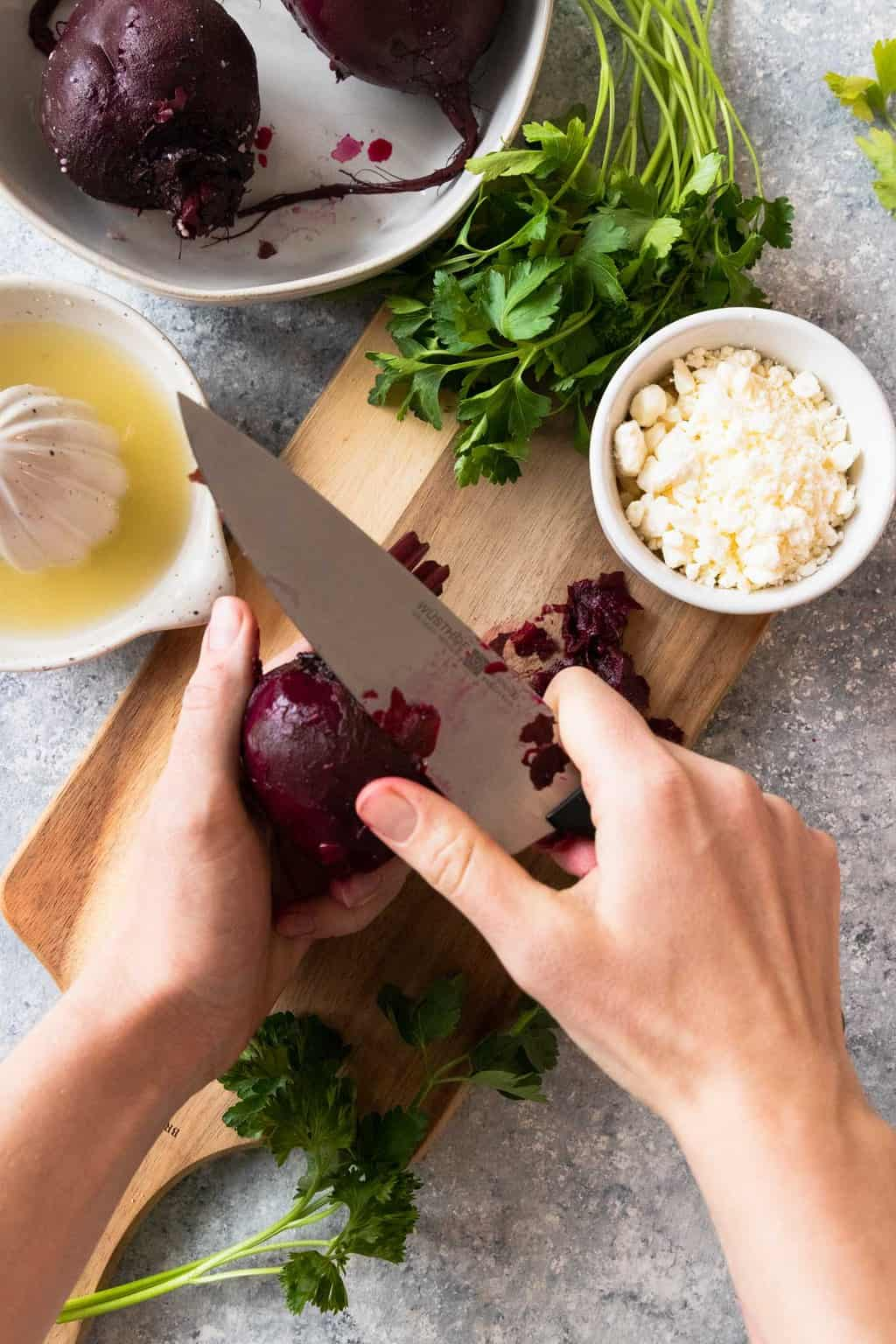 photo fo the beets being prepped for a salad by top Houston lifestyle blogger Ashley Rose of Sugar & Cloth